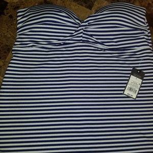 NWT Mossimo M Strapless Tankini White ~Blue stripe
